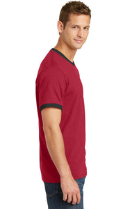 Port & Company® Core Cotton Ringer Tee-Red/ Jet Black