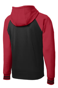 MEN'S Sport-Tek® Sport-Wick® Varsity Fleece Full-Zip Hooded Jacket-DEEP RED