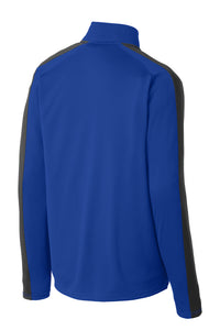 MEN'S Sport-Tek® Sport-Wick® Textured Colorblock 1/4-Zip Pullover-TRUE ROYAL