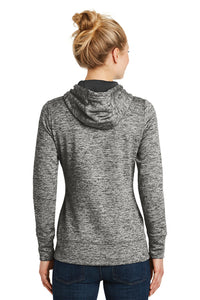 LADIES Sport-Tek® PosiCharge® Electric Heather Fleece Hooded Pullover-BLACK ELECTRIC