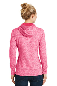 LADIES Sport-Tek® PosiCharge® Electric Heather Fleece Hooded Pullover-POWER PINK