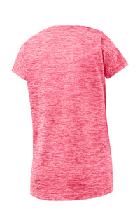 LADIES Sport-Tek® PosiCharge® Electric Heather Sporty Tee-POWER PINK