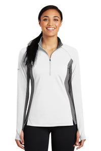 LADIES Sport-Tek®Sport-Wick® Stretch Contrast 1/2-Zip Pullover-WHITE CHARCOAL