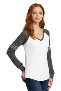 District ® Women's Game Long Sleeve V-Neck Tee-White/ Heathered Charcoal/ Silver