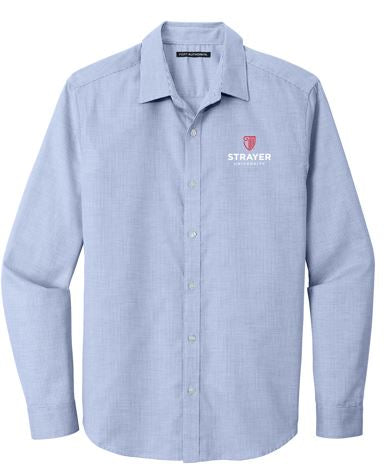 Port Authority ® Pincheck Easy Care Shirt-Blue Horizon/ White