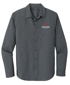 Port Authority ® Pincheck Easy Care Shirt-Black/ Grey Steel