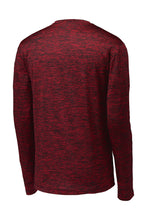 MEN'S Sport-Tek ® PosiCharge ® Long Sleeve Electric Heather Tee-DEEP RED