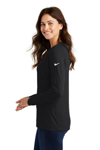 Nike Ladies Core Cotton Long Sleeve Scoop Neck Tee-BLACK