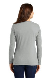 Nike Ladies Core Cotton Long Sleeve Scoop Neck Tee-DARK GREY HEATHER