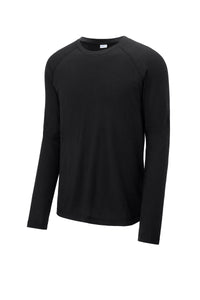 Sport-Tek ® PosiCharge ® Long Sleeve Tri-Blend Wicking Raglan Tee-BLACK