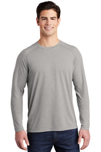 Sport-Tek ® PosiCharge ® Long Sleeve Tri-Blend Wicking Raglan Tee-LIGHT GREY HEATHER