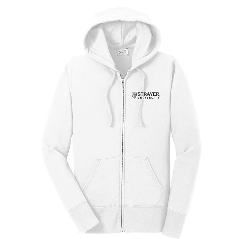 Ladies Core Fleece Full-Zip Hooded Sweatshirt WHITE