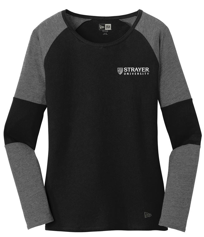 LADIES New Era® Tri-Blend Performance Baseball Tee-DARK GRAPHITE