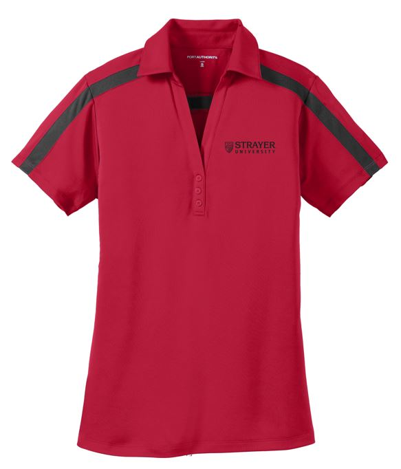 LADIES Port Authority® Silk Touch™ Performance Colorblock Stripe Polo-RED/BLACK