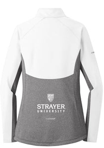 LADIES Sport-Tek®Sport-Wick® Stretch Contrast 1/2-Zip Pullover- WHITE/ Charcoal Grey Heather