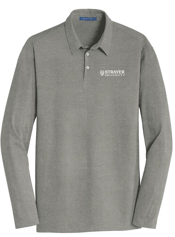 MEN'S Port Authority® Long Sleeve Meridian Cotton Blend Polo-MONUMENT GRAY
