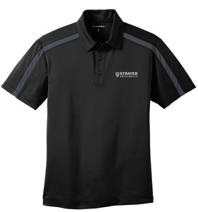 MEN'S Port Authority® Silk Touch™ Performance Colorblock Stripe Polo-BLACK/STEEL