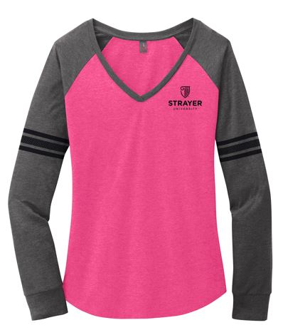 District ® Women's Game Long Sleeve V-Neck Tee-Heathered Dark Fuchsia/ Heathered Charcoal/ Black