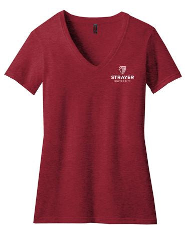District ® Women's Perfect Blend ® V-Neck Tee-Red Fleck