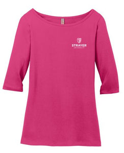 District ® Women's Perfect Weight ® 3/4-Sleeve Tee-Dark Fuchsia