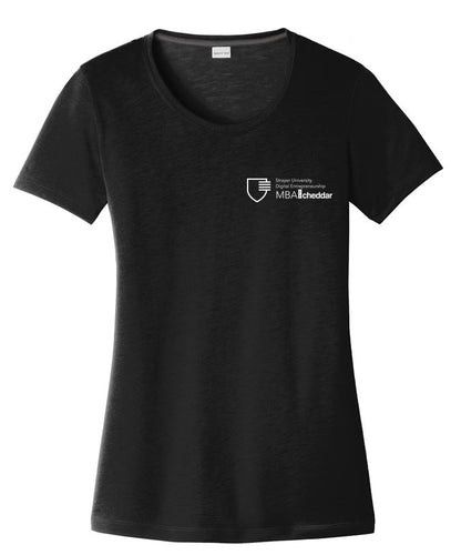MBA CHEDDAR - Sport-Tek Ladies PosiCharge Competitor Cotton Touch Scoop Neck Tee - Black