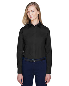 Devon & Jones Ladies' Crown Woven Collection™ Solid Broadcloth-BLACK
