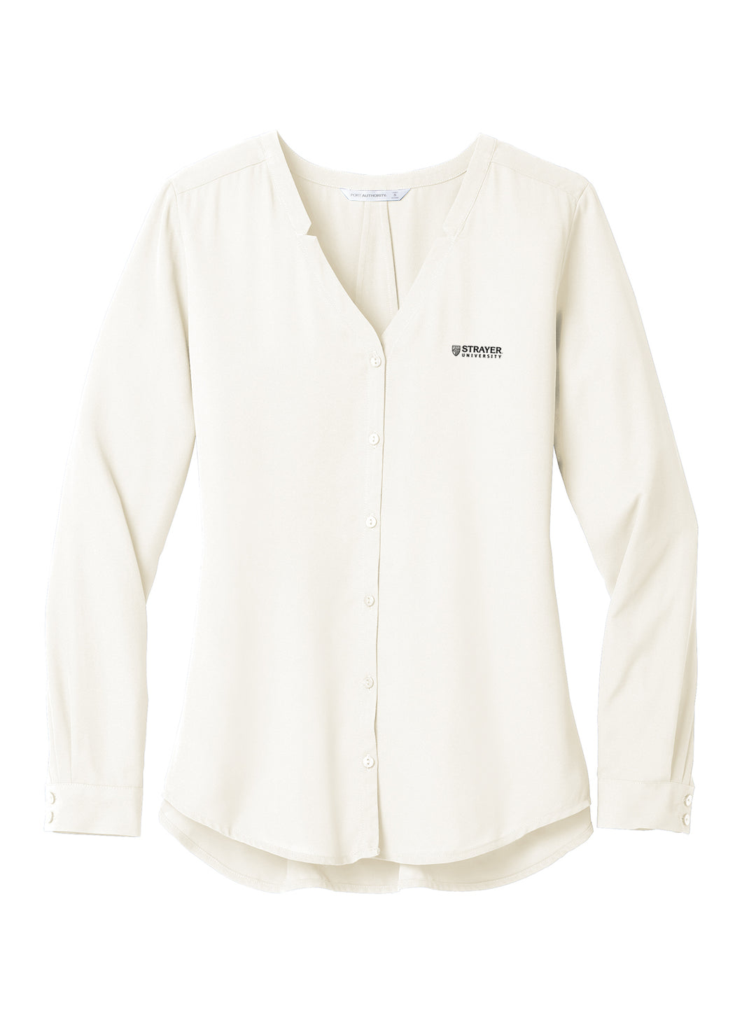 Port Authority Ladies Long Sleeve Button-Front Blouse - Ivory Chiffon