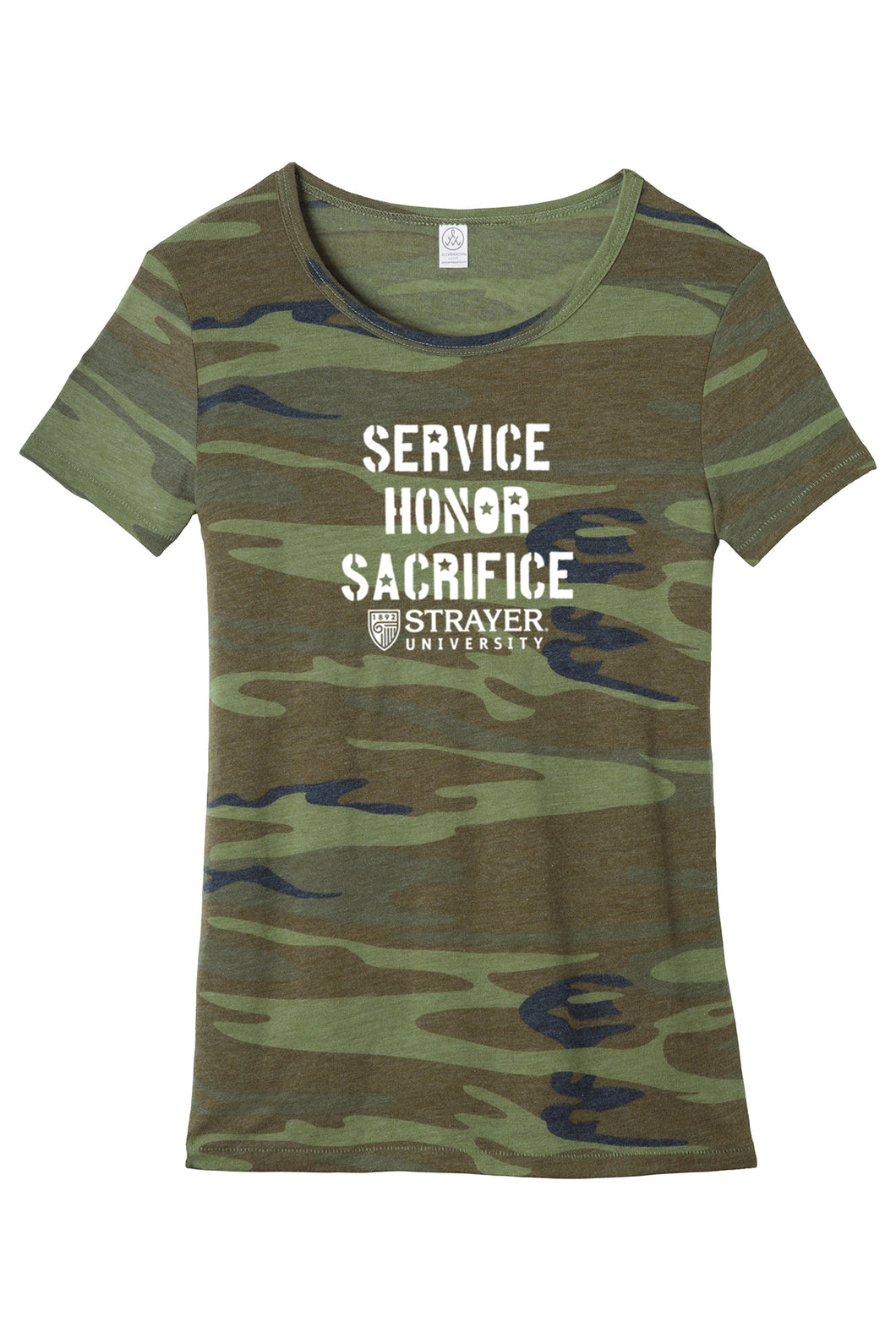Service Honor Sacrifice - Alternative Women's Eco-Jersey Ideal Tee - Camo