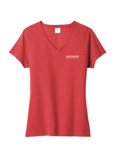Port & Company Ladies Fan Favorite Blend V-Neck Tee - Bright Red Heather