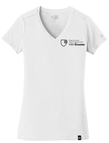 MBA CHEDDAR - New Era Ladies Heritage Blend V-Neck Tee - White