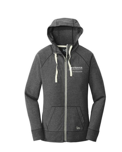 ALUMNI Ladies Sueded Cotton Full-Zip Hoodie BLACK HEATHER