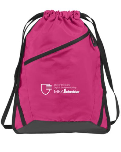 MBA CHEDDAR - Port Authority Zip-It Cinch Pack Pink Azalea/Black