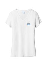 SEI - Port & Company Ladies Fan Favorite Blend V-Neck Tee - White