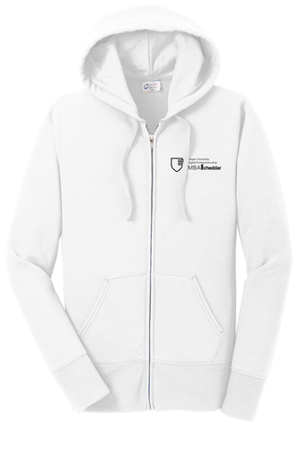 MBA CHEDDAR - Port & Company Ladies Core Fleece Full-Zip Hooded Sweatshirt - White