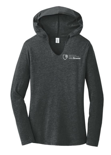 MBA CHEDDAR - District Women's Perfect Tri Long Sleeve Hoodie - Black Frost