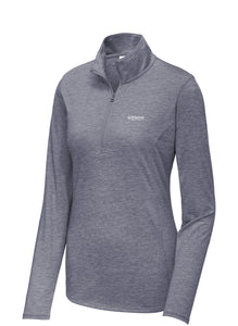Sport-Tek Ladies PosiCharge Tri-Blend Wicking 1/4-Zip Pullover - True Navy Heather
