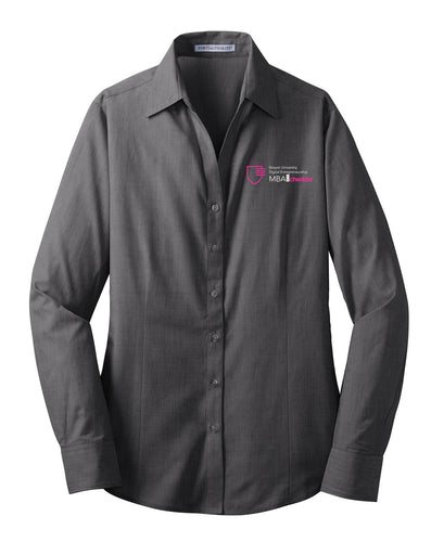 MBA CHEDDAR - Port Authority Ladies Crosshatch Easy Care Shirt - Soft Black