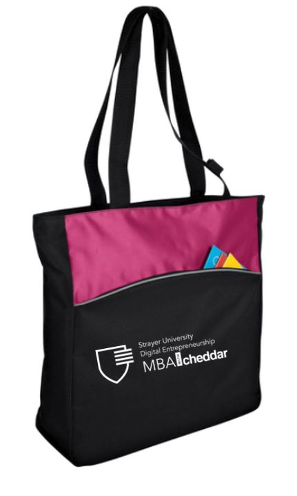 MBA CHEDDAR - Port Authority Two-Tone ColorBlock Tote - Passion Pink/Black