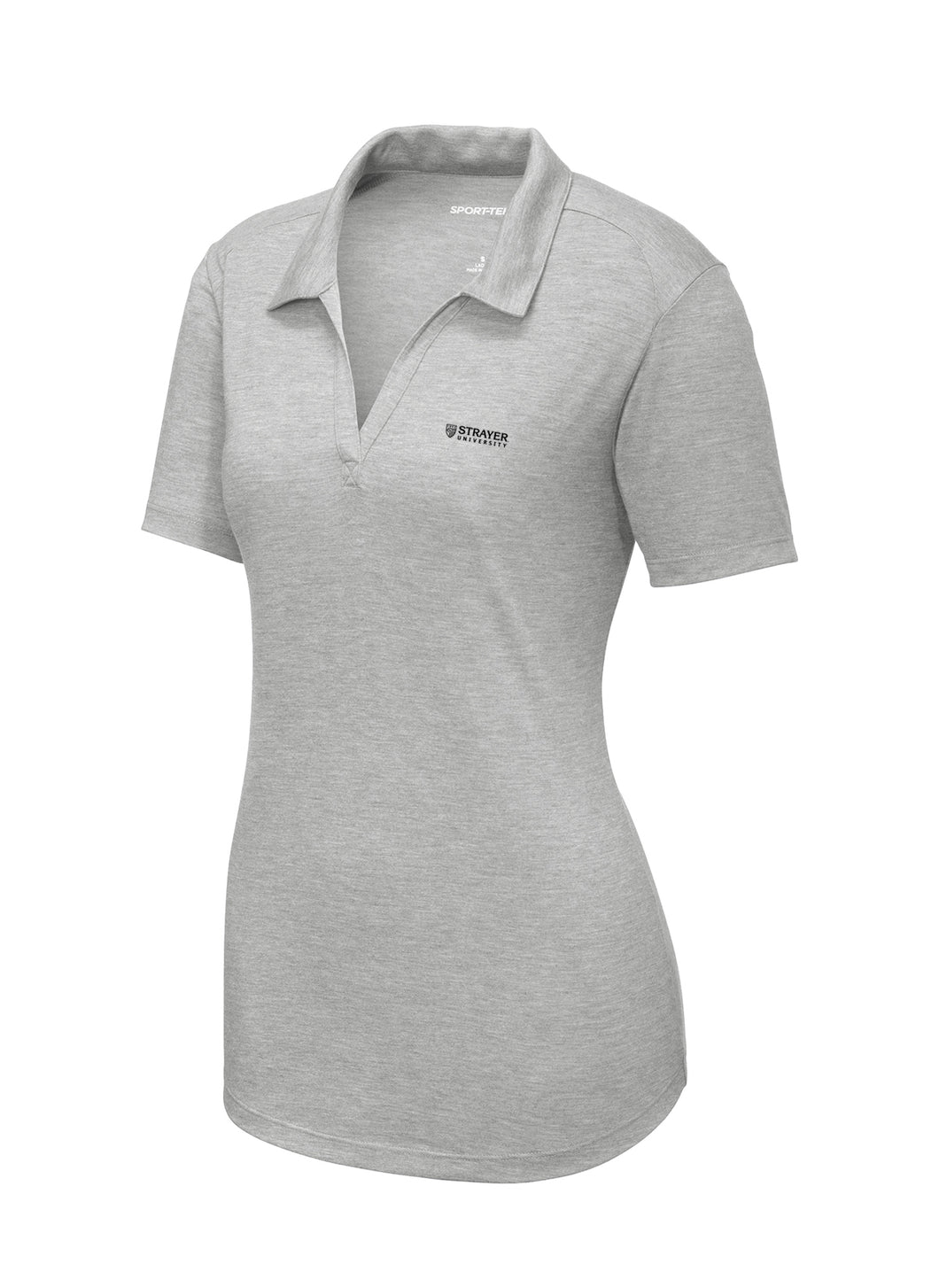 Sport-Tek Ladies PosiCharge Tri-Blend Wicking Polo -Light Heather Grey