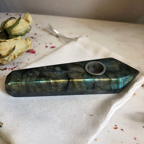 Labradorite Crystal Smoking Pipe