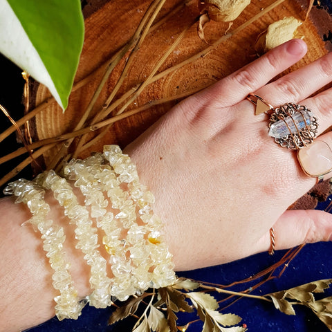 Crystal Chip Bracelet - Citrine