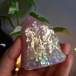 Angel Aura Rose Quartz Polished Point Base Cut #3