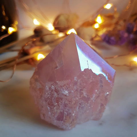 Angel Aura Rose Quartz Polished Point Base Cut #5