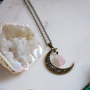 Crescent Moon with Rose Quartz Gold Necklace