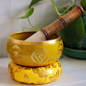 Tibetan Singing Bowl - Chakra Design - Solar Plexus - Yellow