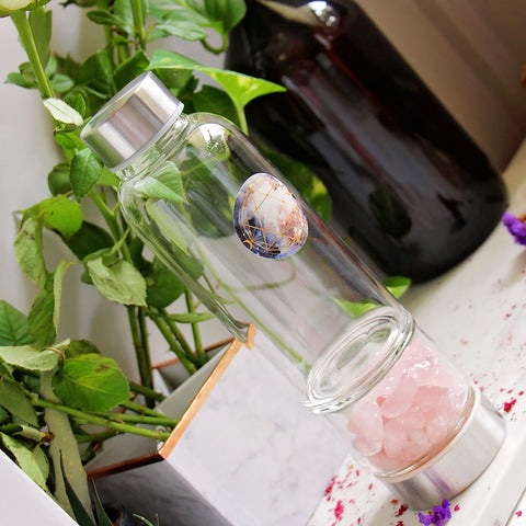 Crystal Elixir Water Bottle - Rose Quartz