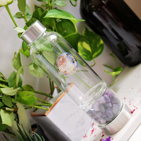 Crystal Elixir Water Bottle - Amethyst