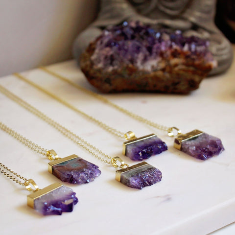 Amethyst Slice Gold Necklace