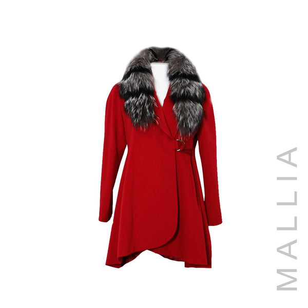 Hi-Lo Coat w/ Fox Fur Trim Collar