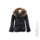 Nylon Jacket w/ Raccoon Fur Shawl Collar